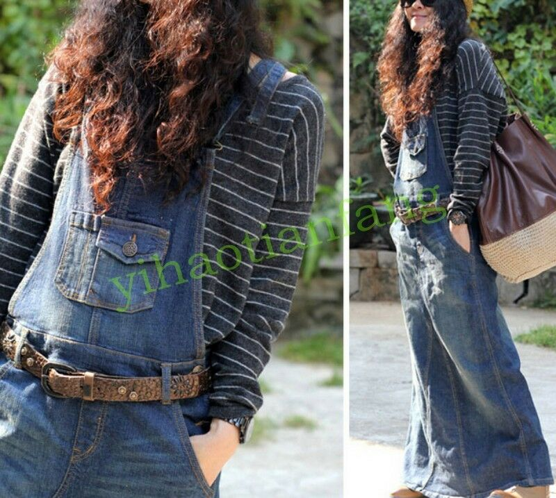 48ab93b3c5d Details about Womens Casual Hot Denim Suspender College Skirt Overalls  Jeans Maxi Long Dresses