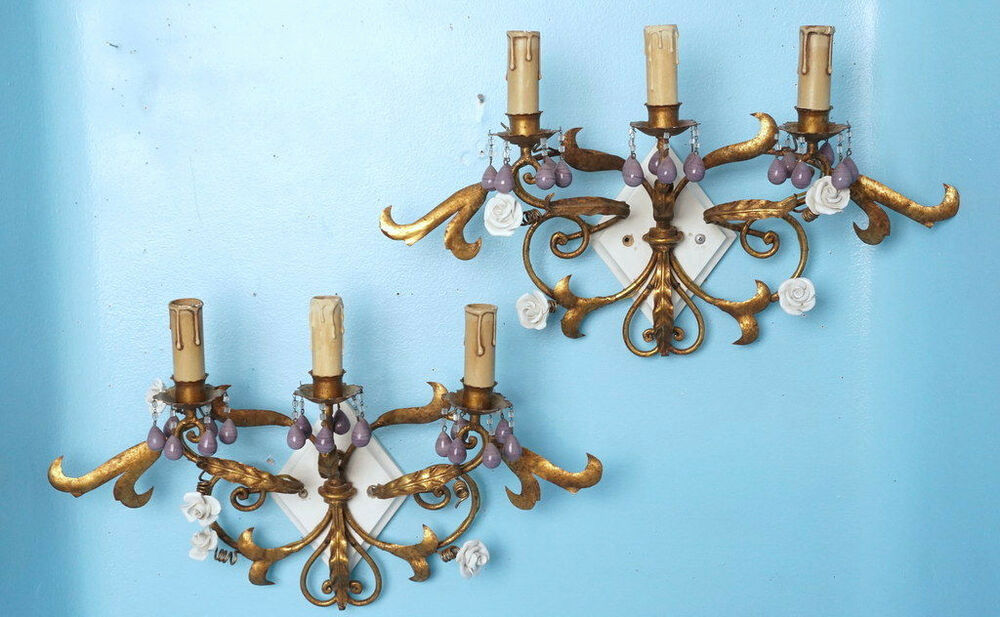 2 Antique 3-Light Wall Sconces Bronzed Iron Porcelain Roses Lavender Glass Beads eBay
