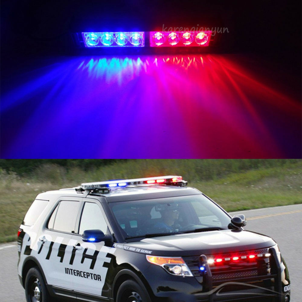 Car Police Strobe Light 8 Led Red Blue Dash Emergency Bar