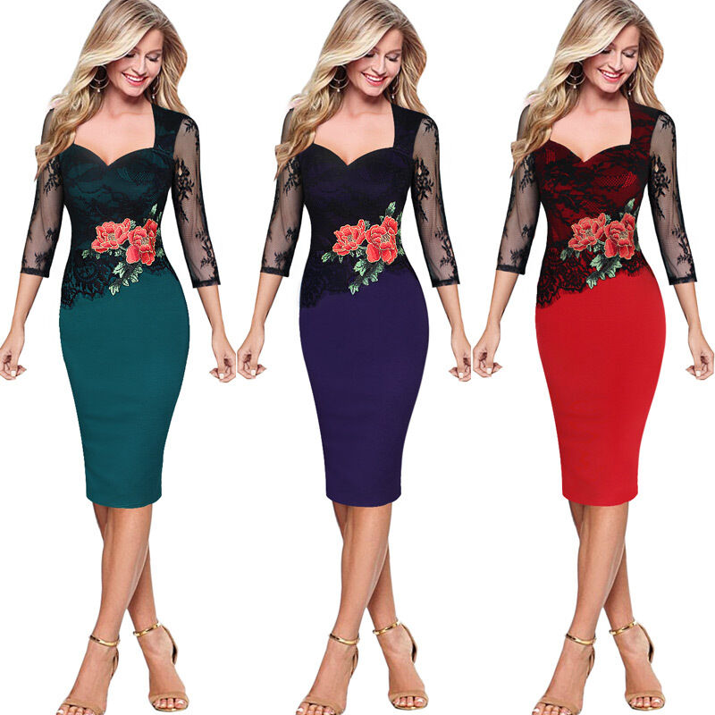 Womens Sexy Embroidered Floral Cocktail Party Evening Lace Embroidery Dress 3198 | EBay