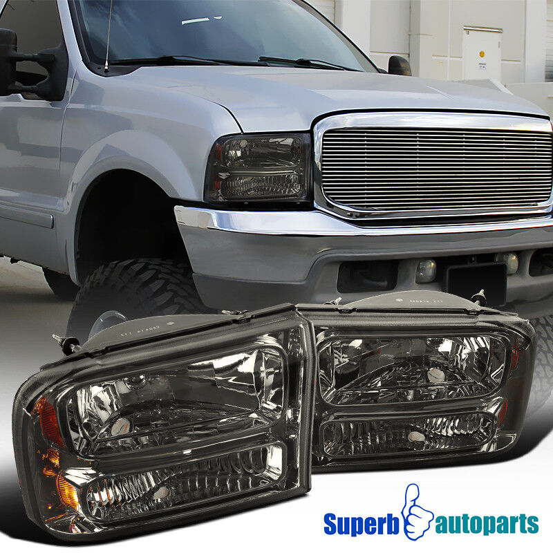99 04 ford f250 f350 super duty smoke lens 1pc style headlights w bumper lamp ebay. Black Bedroom Furniture Sets. Home Design Ideas