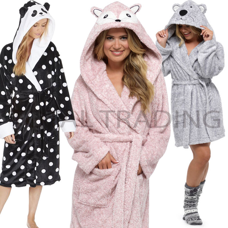 Ladies Womens Animal Hooded Robe Dressing Gown Winter Warm Coral ...