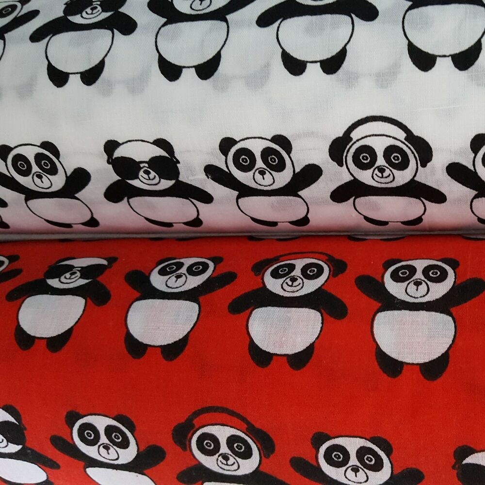 Panda polycotton fabric children 39 s red white animal kids for Black and white childrens fabric