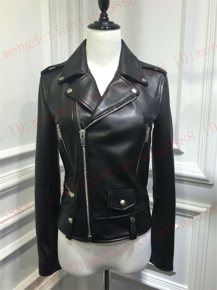 New Women's Real Washed leather Jacket Biker Leather ...