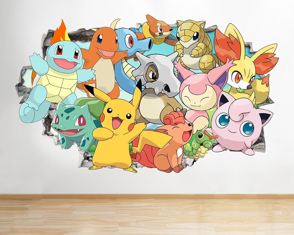 Pokemon go x y game characters wall decal poster art for Art mural wallpaper uk