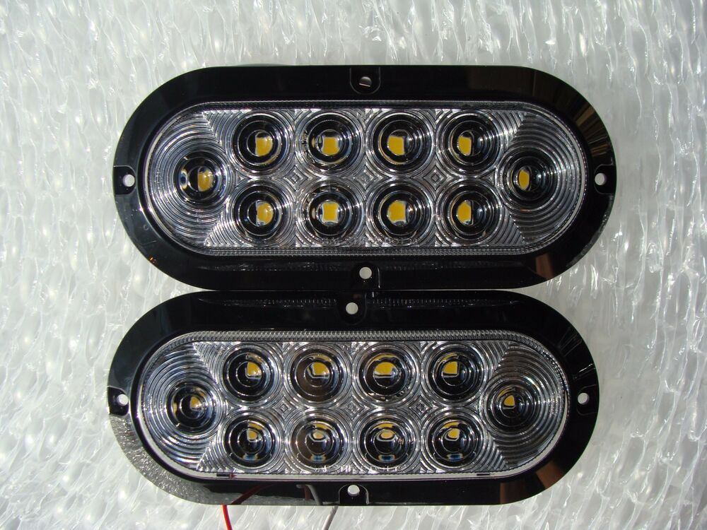 2 Surface Mount 6 Quot Oval Bright Led Backup Lights Reverse