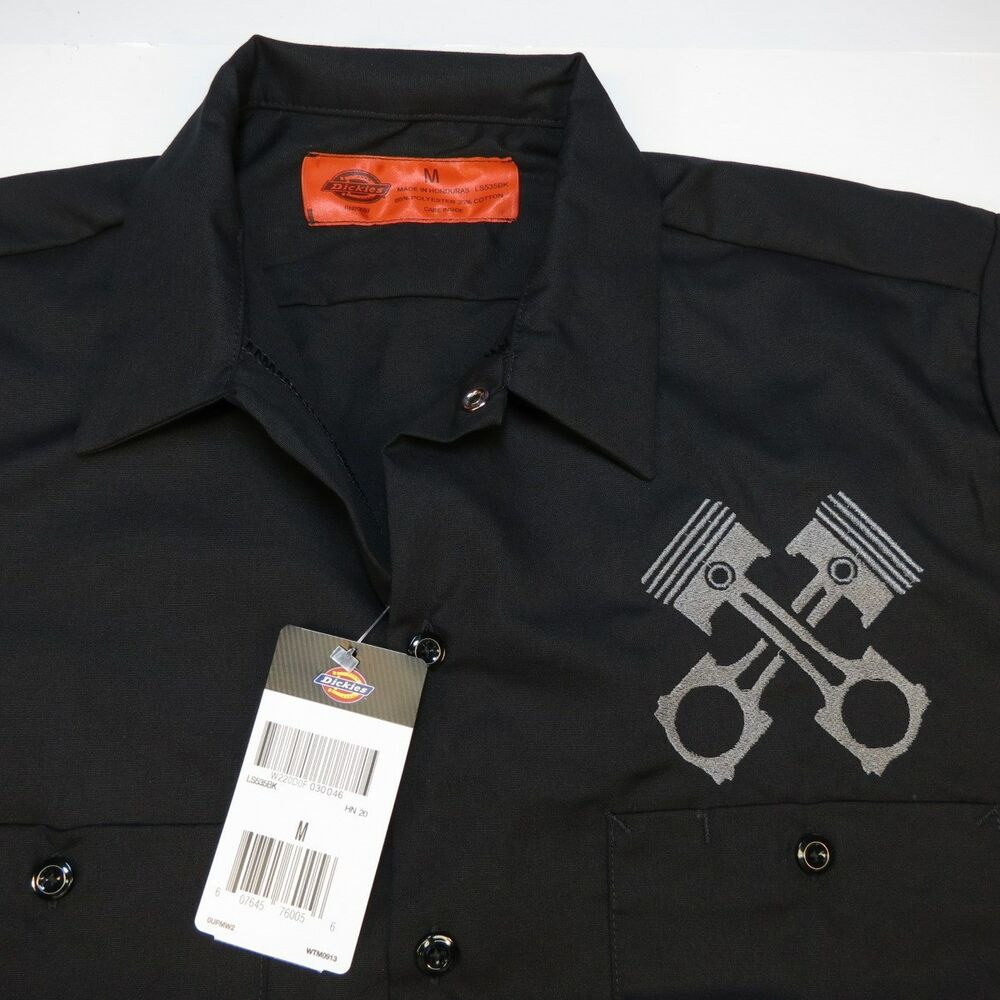 New nwt dickies embroidered pistons mechanic pit crew car for Embroidered dickies work shirts