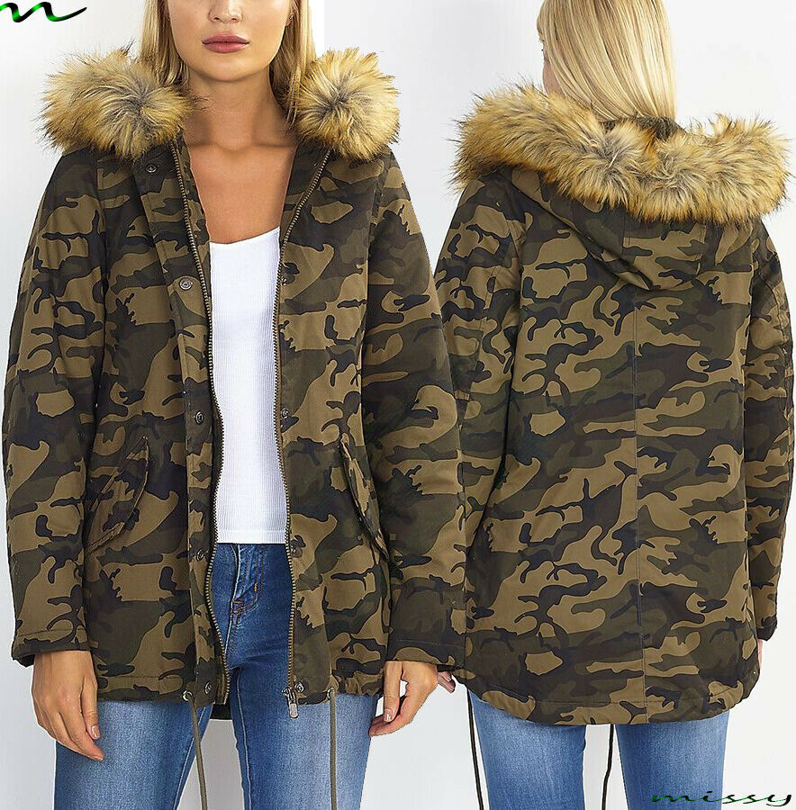 new womens plus size ladies parka jacket quilted winter. Black Bedroom Furniture Sets. Home Design Ideas