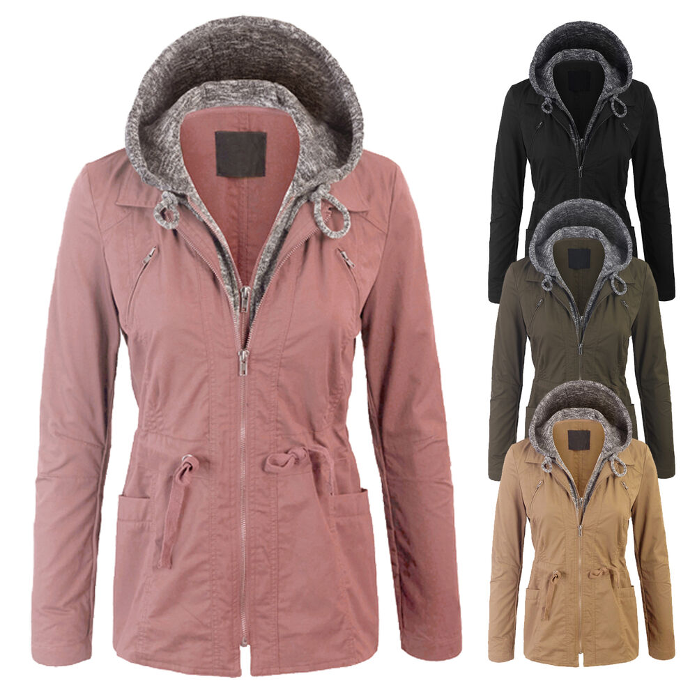 40d1021752a Details about Women s Military Anorak Safari Jacket with Pockets Double  Layer Knit Hoodie Coat