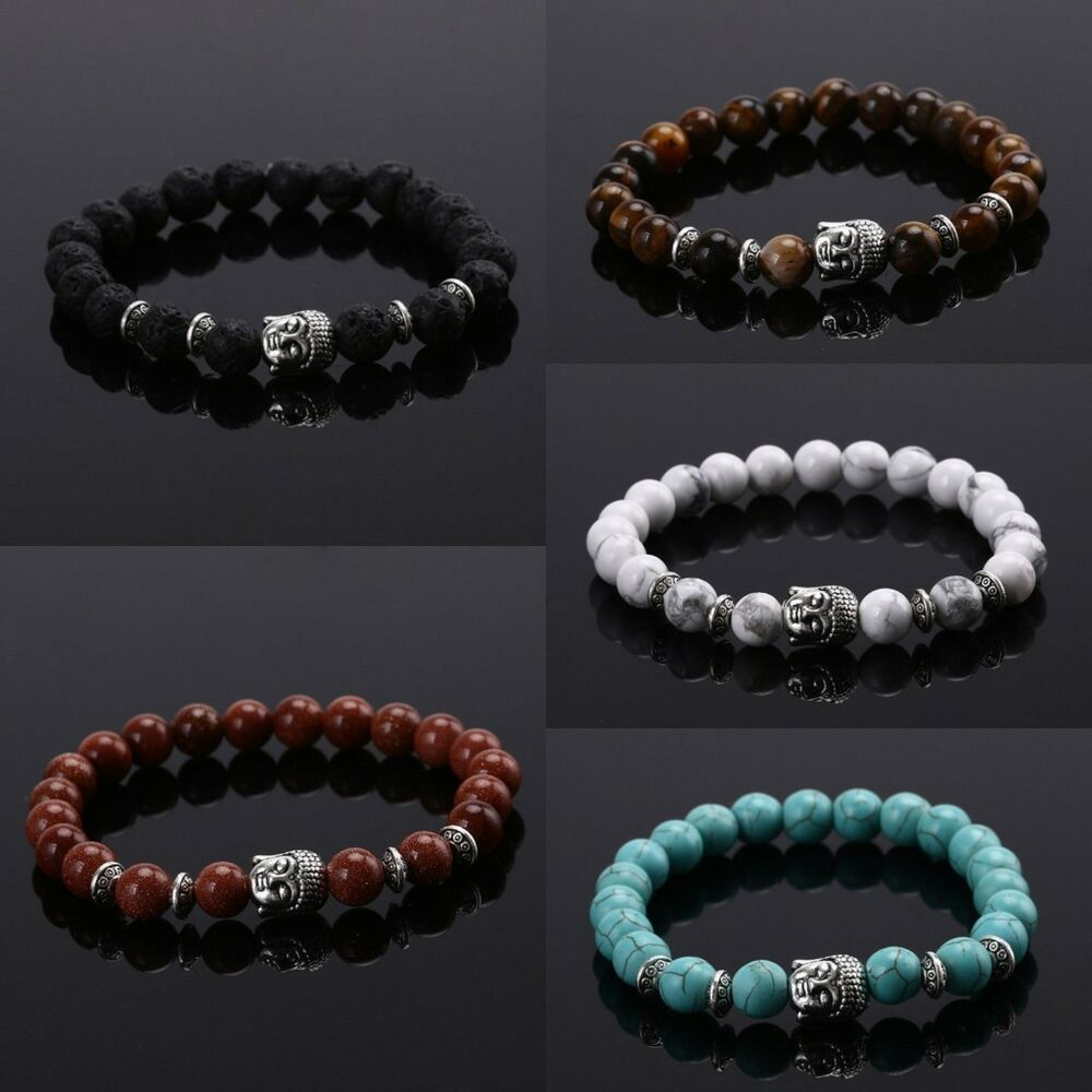 Handmade men women lava rock bracelet natural gemstone for How to make rock jewelry
