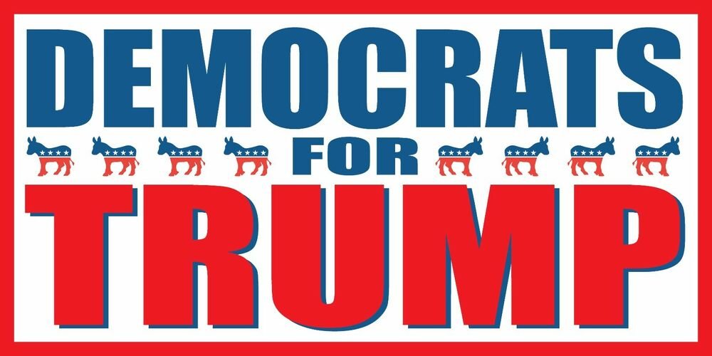 4 39 x8 39 democrats for donald trump 2016 vinyl banner sign presidential election ebay. Black Bedroom Furniture Sets. Home Design Ideas