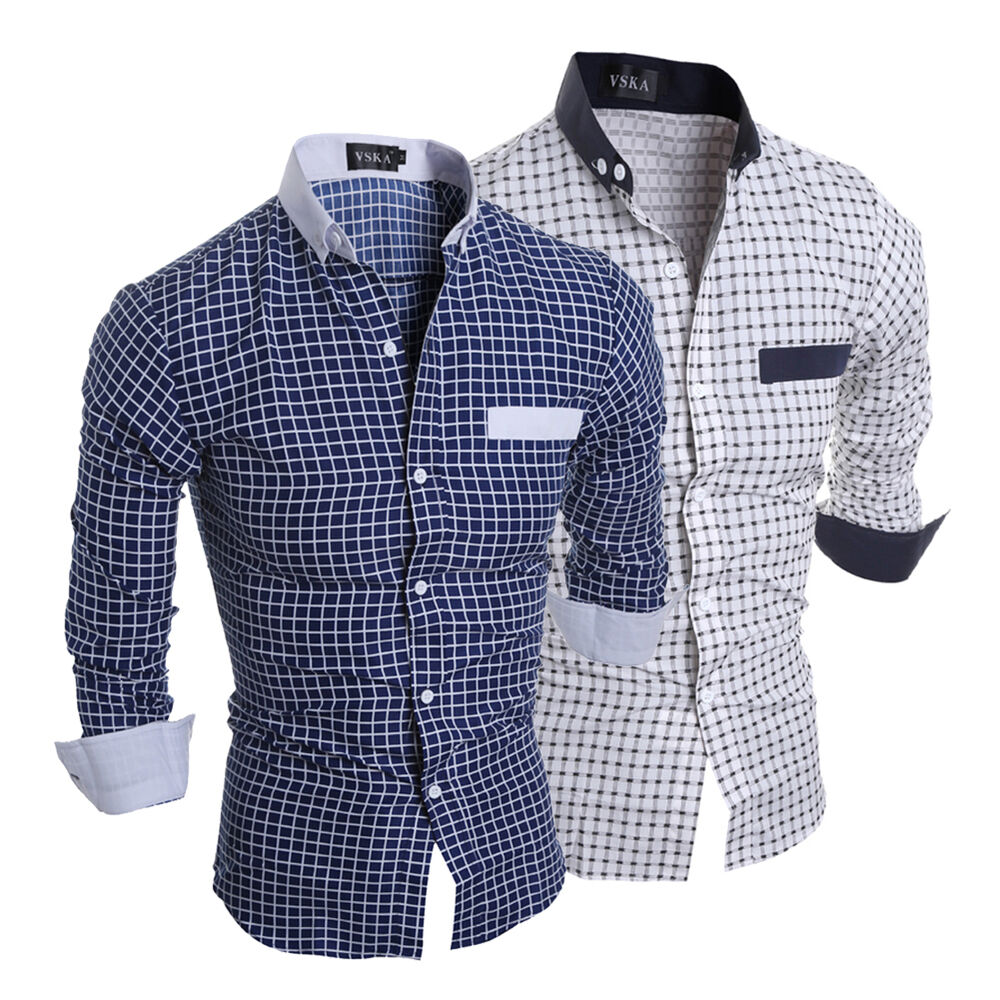 Trendy Mens Casual Button Down Slim Fit Long Sleeve Plaids