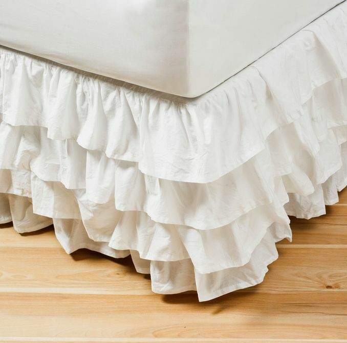 Shabby Vintage White Country Chic Ruffled Tier Flamenco King Valance ...