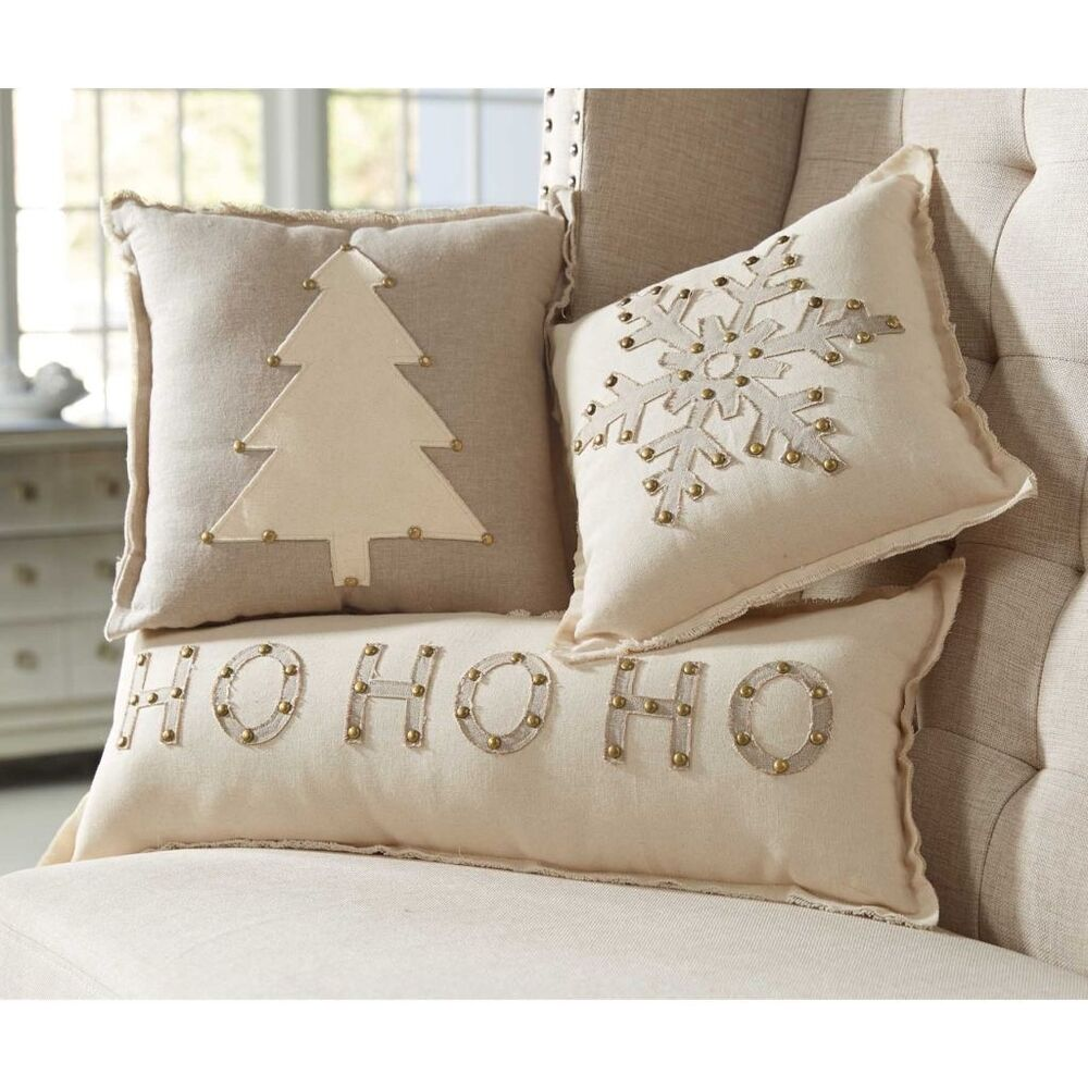 Mud pie mh6 lodge christmas home decor studded holiday pillows 4165007 designs ebay - Home design bedding ...