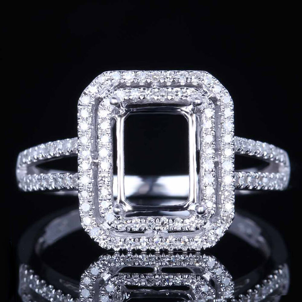 Solid 10k white gold engagement diamond semi mount ring for Wedding ring mounts