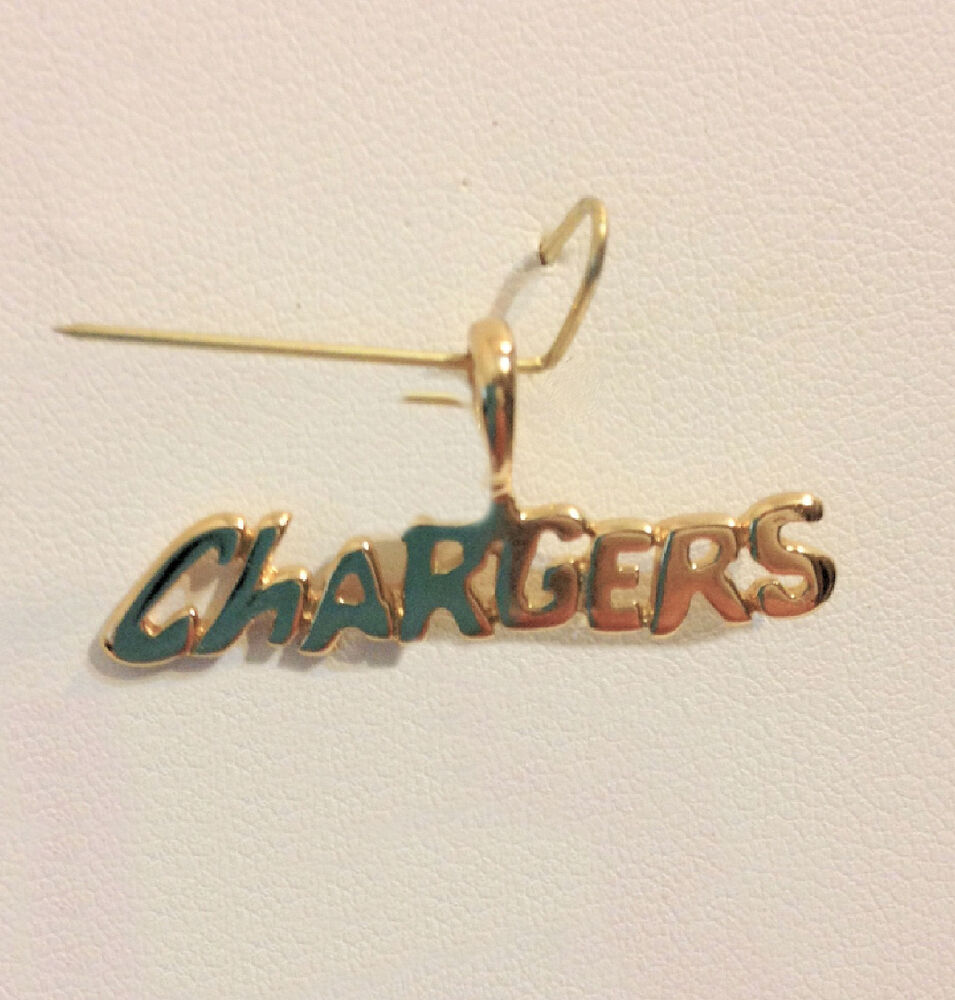 San Diego Chargers Team Name Pendant 24k Gold Plated Charm