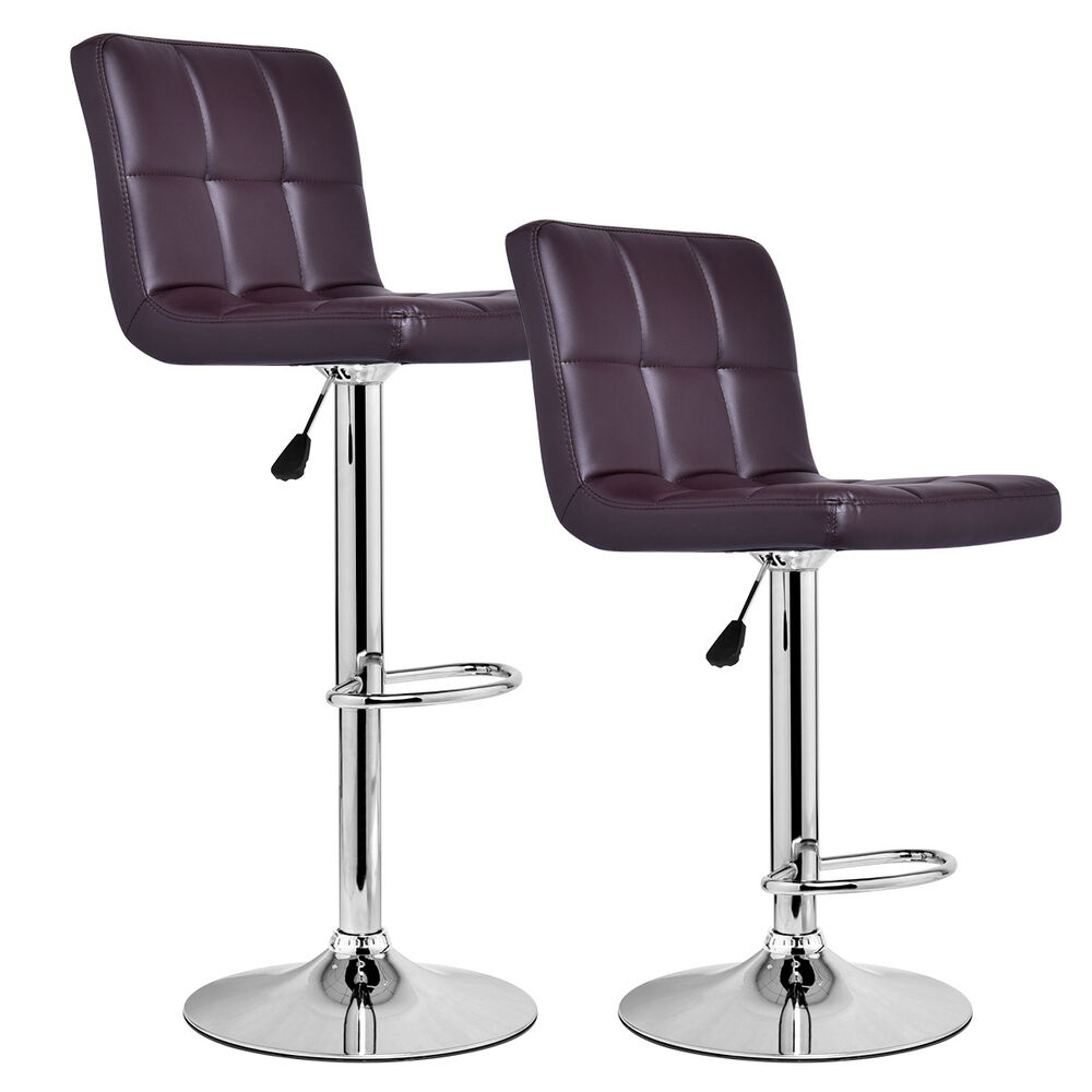 3 Bar Stools High Seat Chairs Adjustable Swivel Counter: Set Of 2 Modern Leather Bar Stools Adjustable Hydraulic