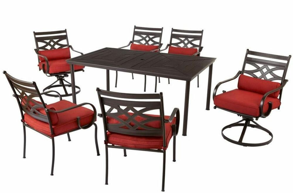 new luxurious 7 piece patio outdoor dining set chairs table w cushion insert ebay. Black Bedroom Furniture Sets. Home Design Ideas