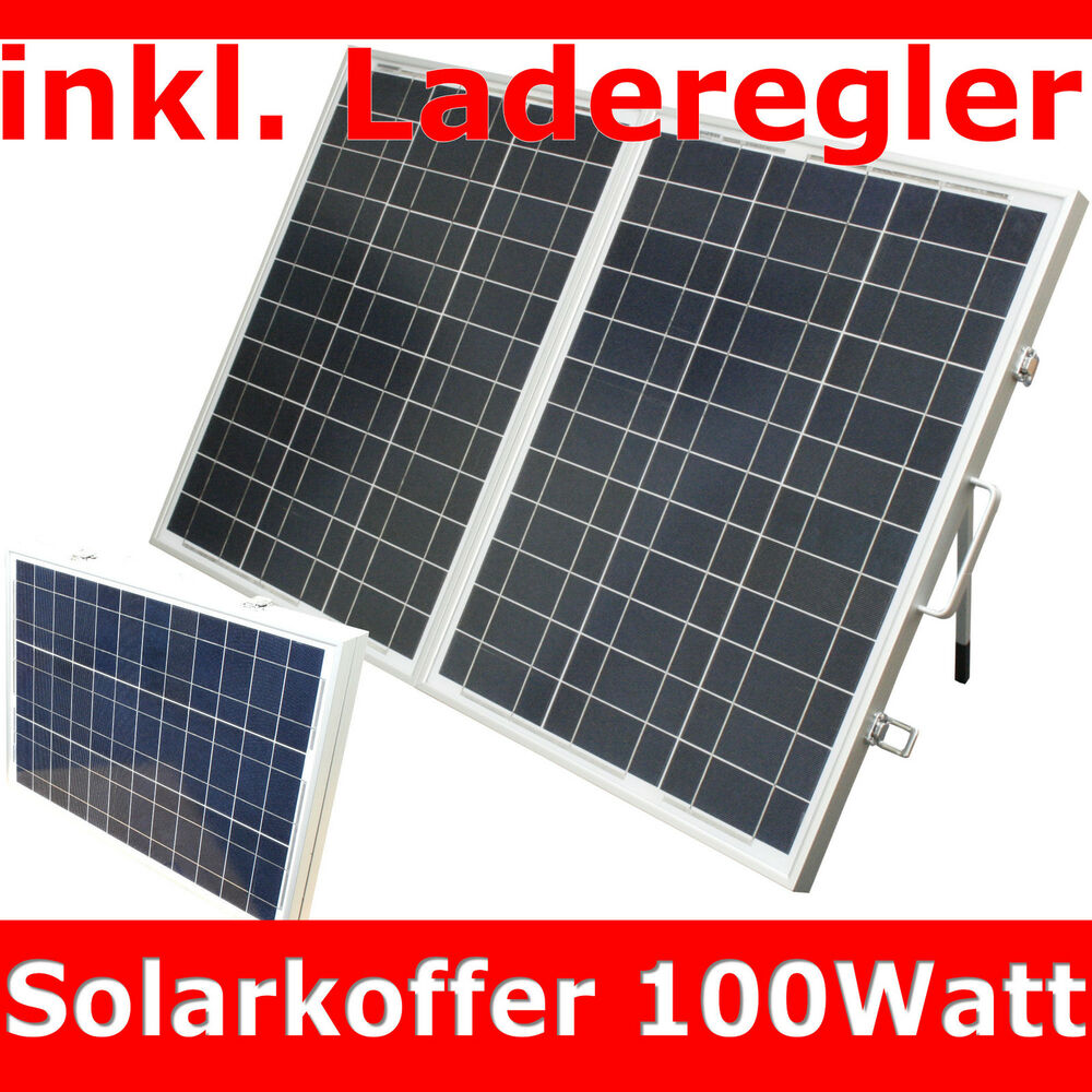 100w 100 watt solarkoffer solarpanel solarmodul inkl laderegler solar koffer ebay. Black Bedroom Furniture Sets. Home Design Ideas