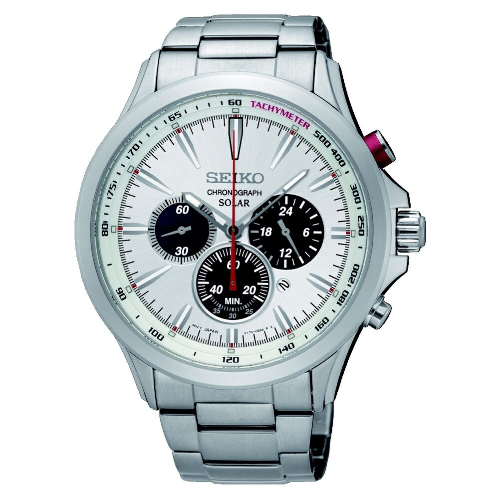 Brand new seiko gents solar chronograph stainless steel watch ssc491p1 ebay for Solar watches