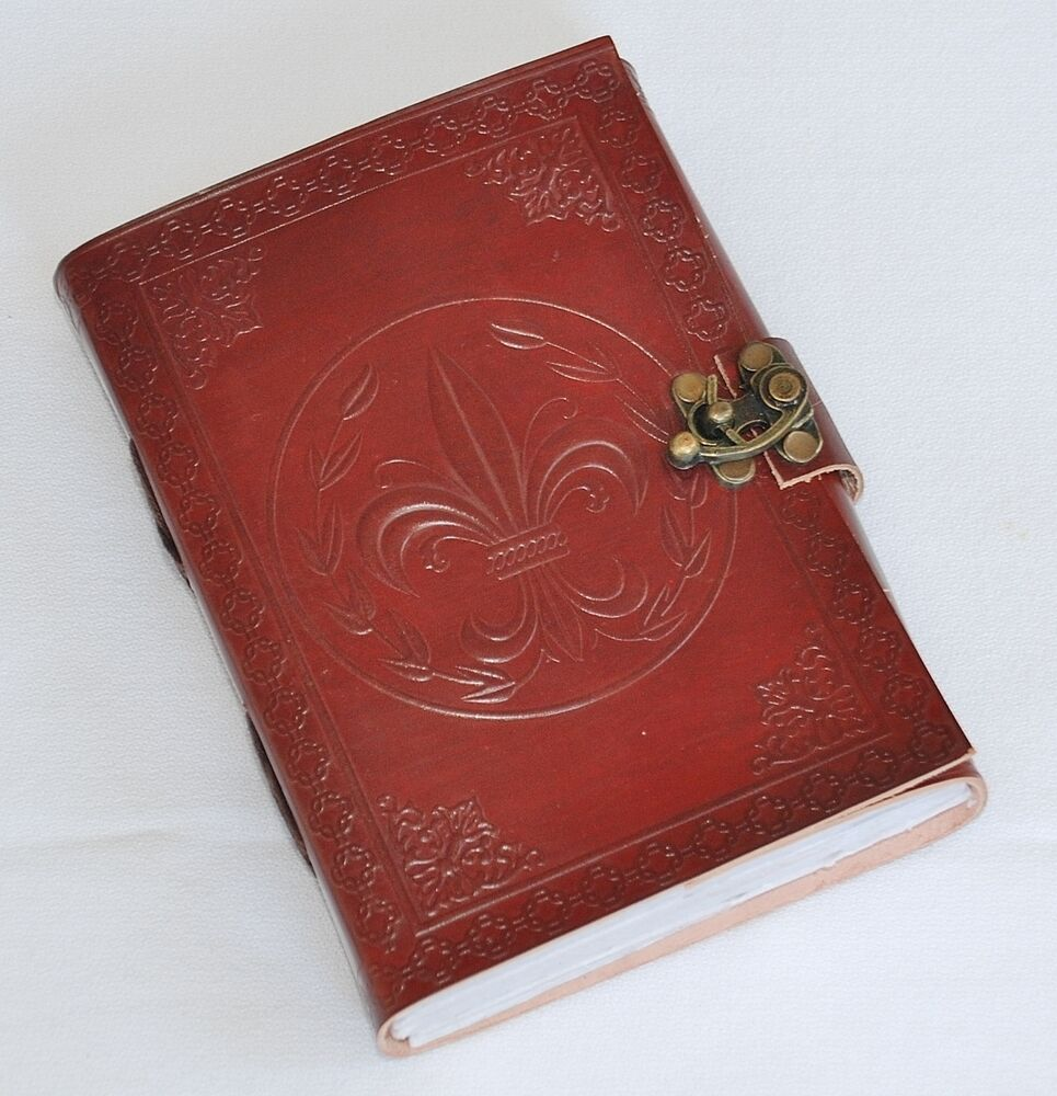 handmade fleur de lis tooled leather blank journal diary notebook book  588