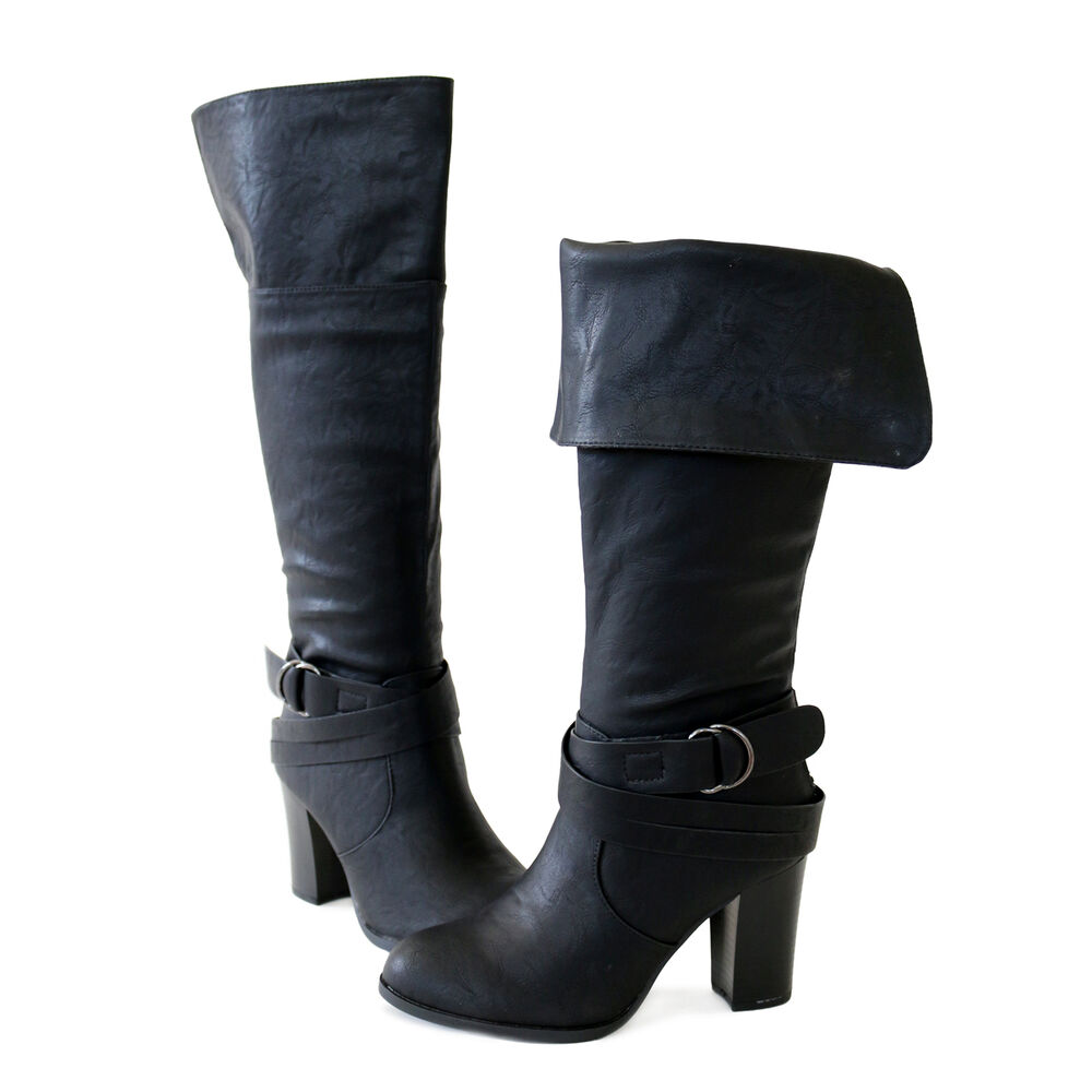 Chic Trendy Buckle Ankle Strap Back Zip Cuff Knee High ...