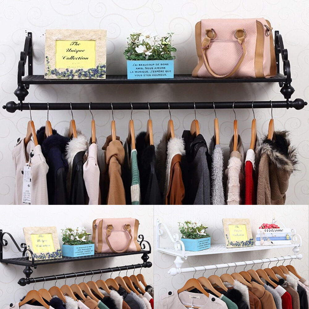 Heavy Duty Metal Clothes Rail Wall Mounted Garment Hanging