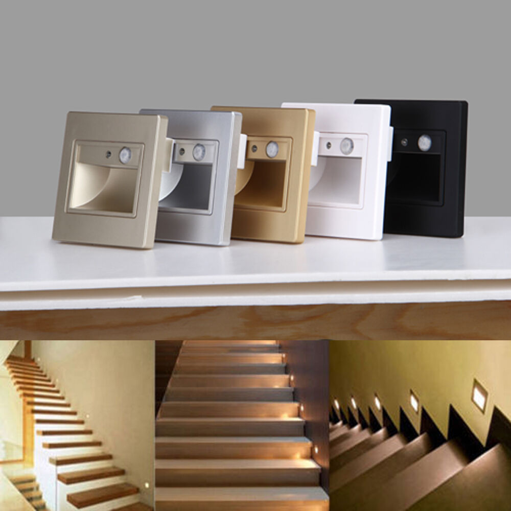 1.5W 110V-240V LED Wall Plinth Recessed Stair Hall Footlight Motion-sensor Light eBay