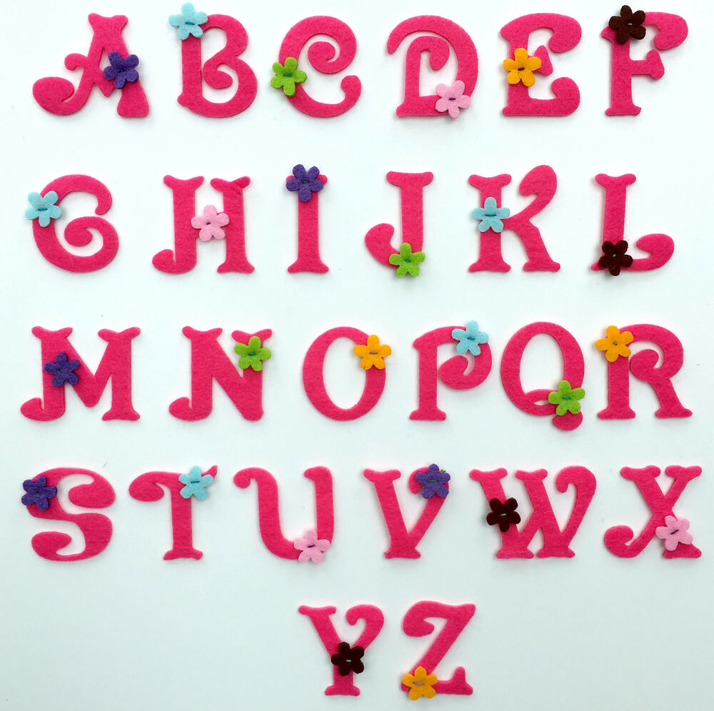 Girls alphabet letters embroidered motif fabric iron on for Embroidered alphabet letters