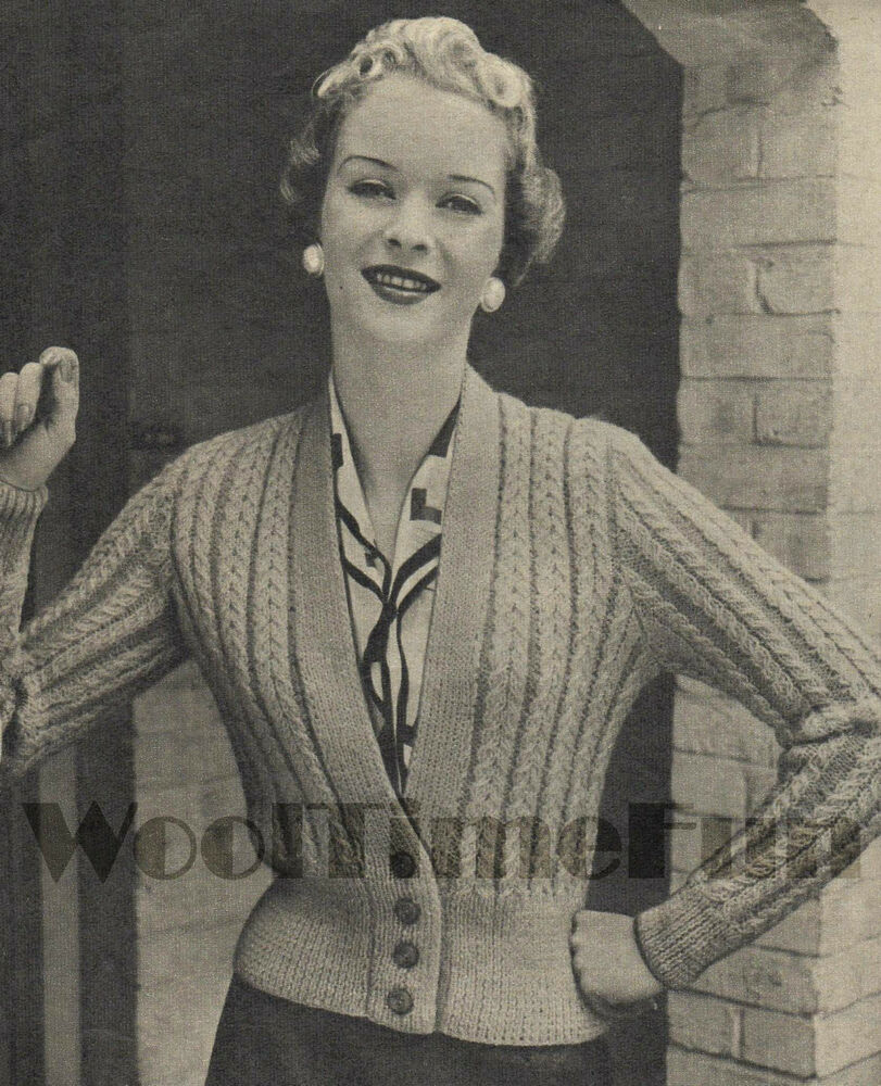 Vintage Knitting Pattern Ladys 1950s Cable Cardigan/Short Jacket. eBay