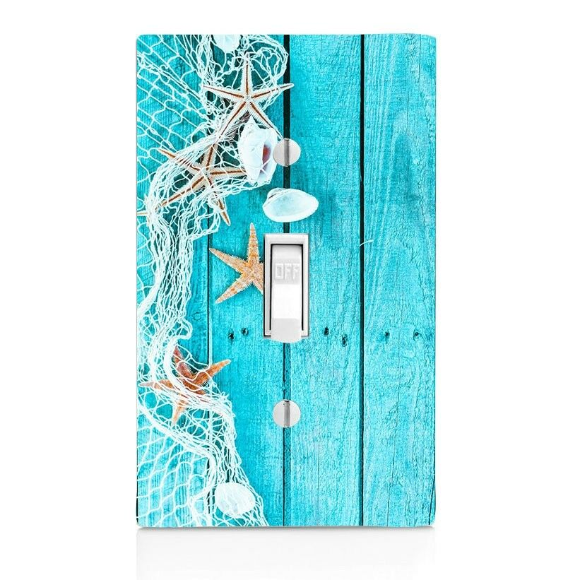 Home Decor Shells Starfish Net Blue Light Switch Plate