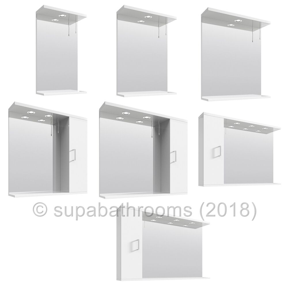 Bathroom vanity unit mirror cabinets illuminated all sizes - Standard bathroom mirror dimensions ...