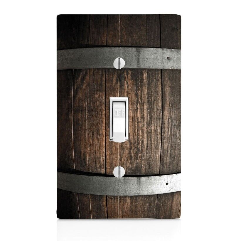 Light switch plate cover wine barrel wood wall plate toggle decor switch plate ebay for Bathroom light bar with electrical outlet