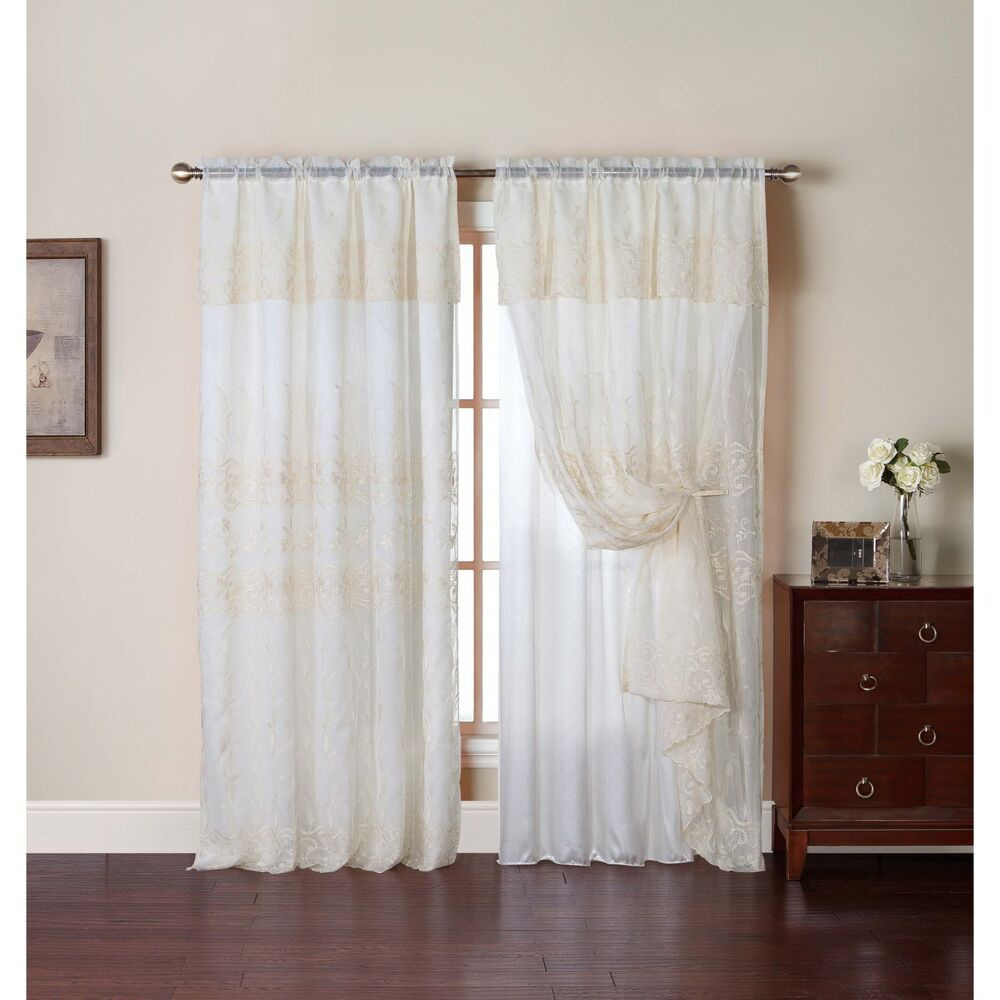 embroidered curtain panel with attached valance and backing ebay