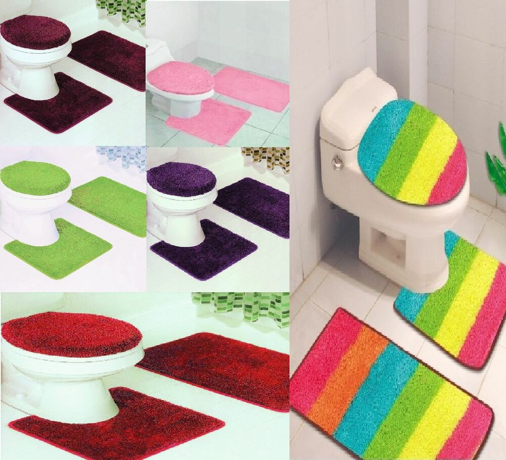 Bathroom Set Rug Contour Mat Toilet Lid Cover Plain Solid