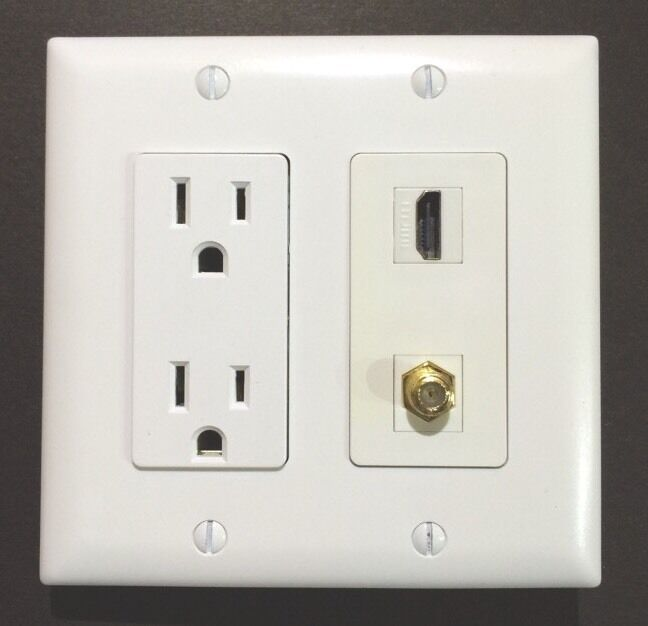 Hdtv Wall Plate15a 125v Power Outlet 1x Hdmi 1x Coax