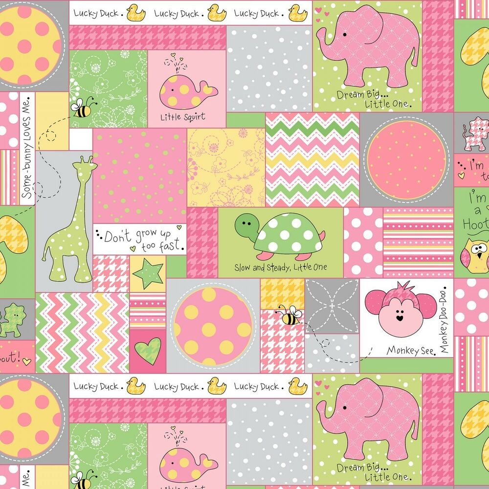 Fabric baby animals patchwork squares on pink flannel by for Baby fabric by the yard