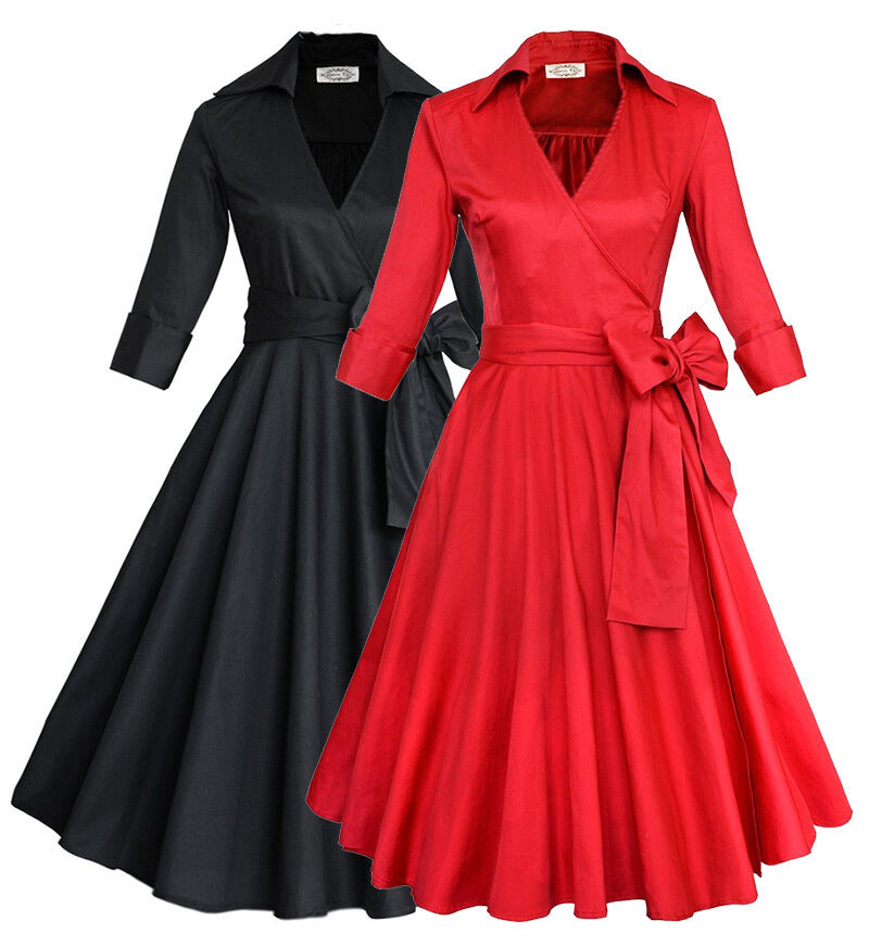 Plus Size Retro Vintage Womens 1950s Rockabilly Formal ...