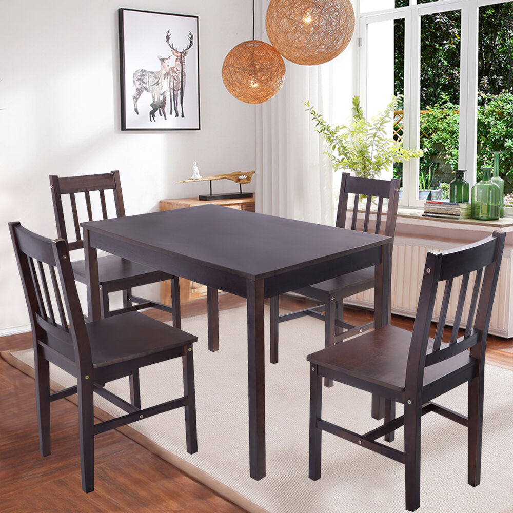 Solid wooden pine dining table and 4 chairs set kitchen for Wooden dining table chairs