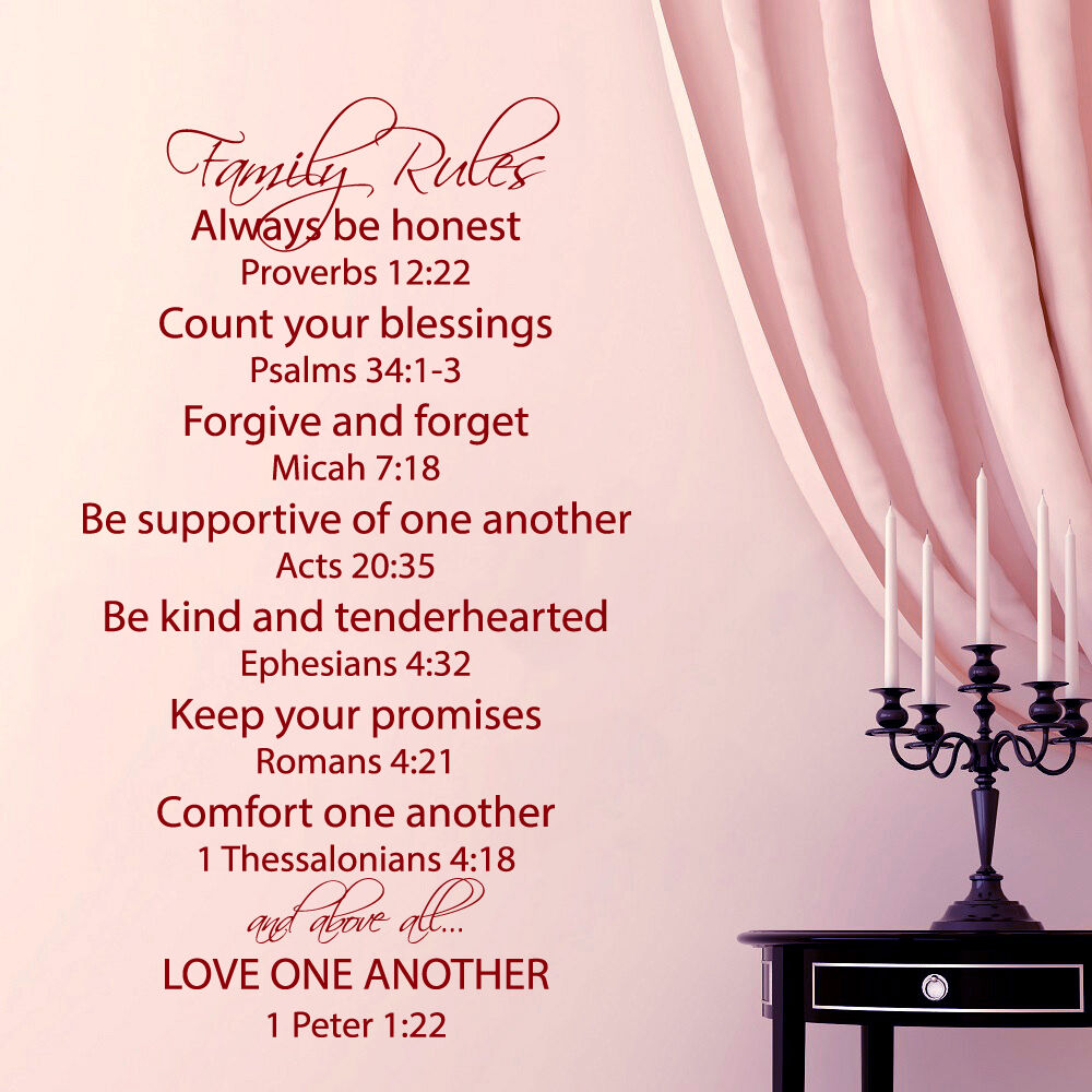 Love One Another Quotes Sayings: Family Rules Wall Decal Quote Love One Another Bible