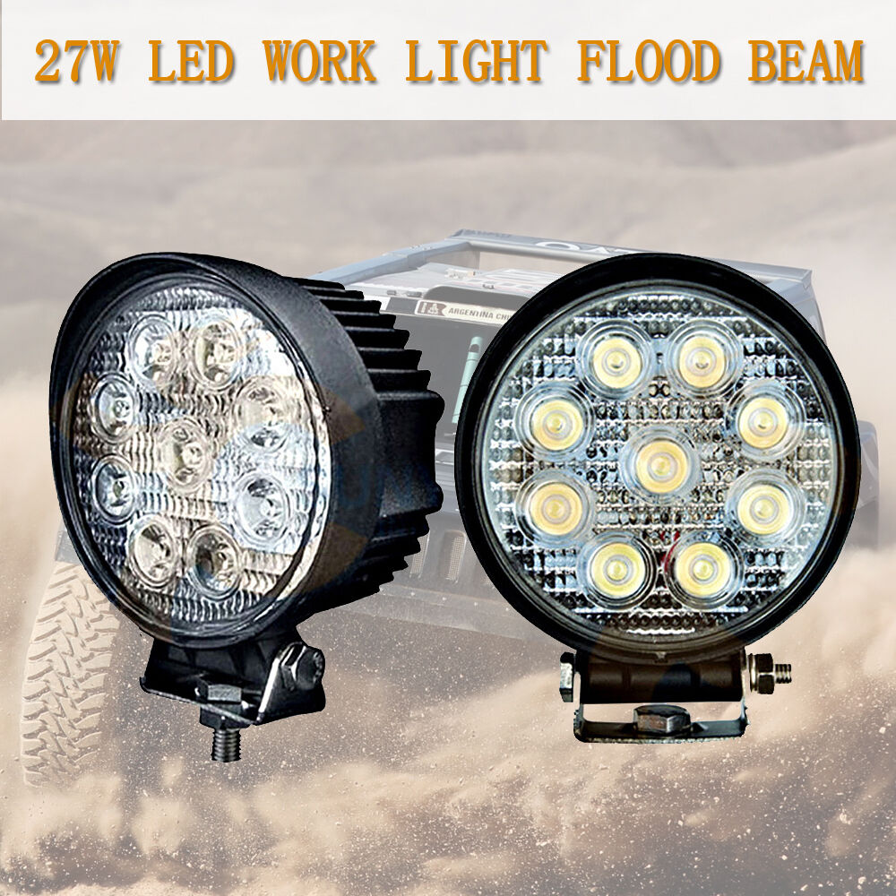27w Led Work Light : W flood round inch fog driving drl offroad lamp