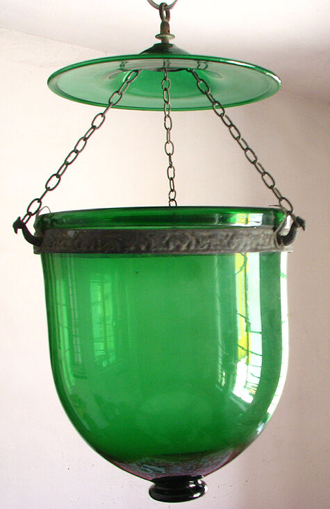 Antique 1890 Colonial Bell Jar Glass Hall Lantern