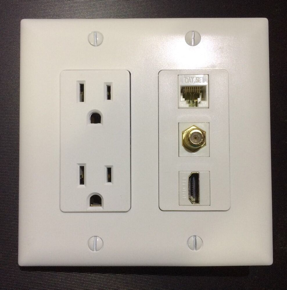 2 Gang White HDTV Plate W/Outlet 15A 125V 1x HDMI 1x Coax