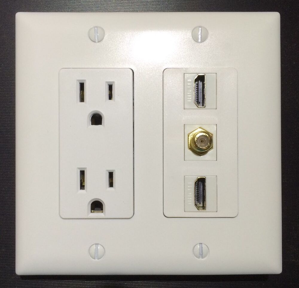 Cable Wall Plate : Gang power outlet a v hdmi coax cable tv wall