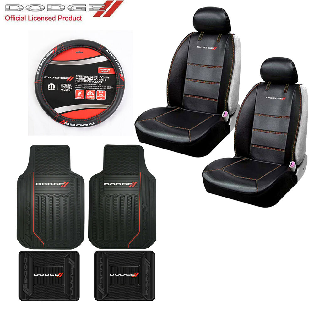 new dodge sideless front seat covers steering wheel cover and floor mats set ebay. Black Bedroom Furniture Sets. Home Design Ideas