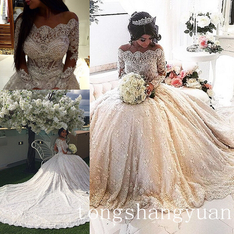 Cathedral Wedding Gowns: Luxury Beading Bling Wedding Dress Long Sleeve Cathedral
