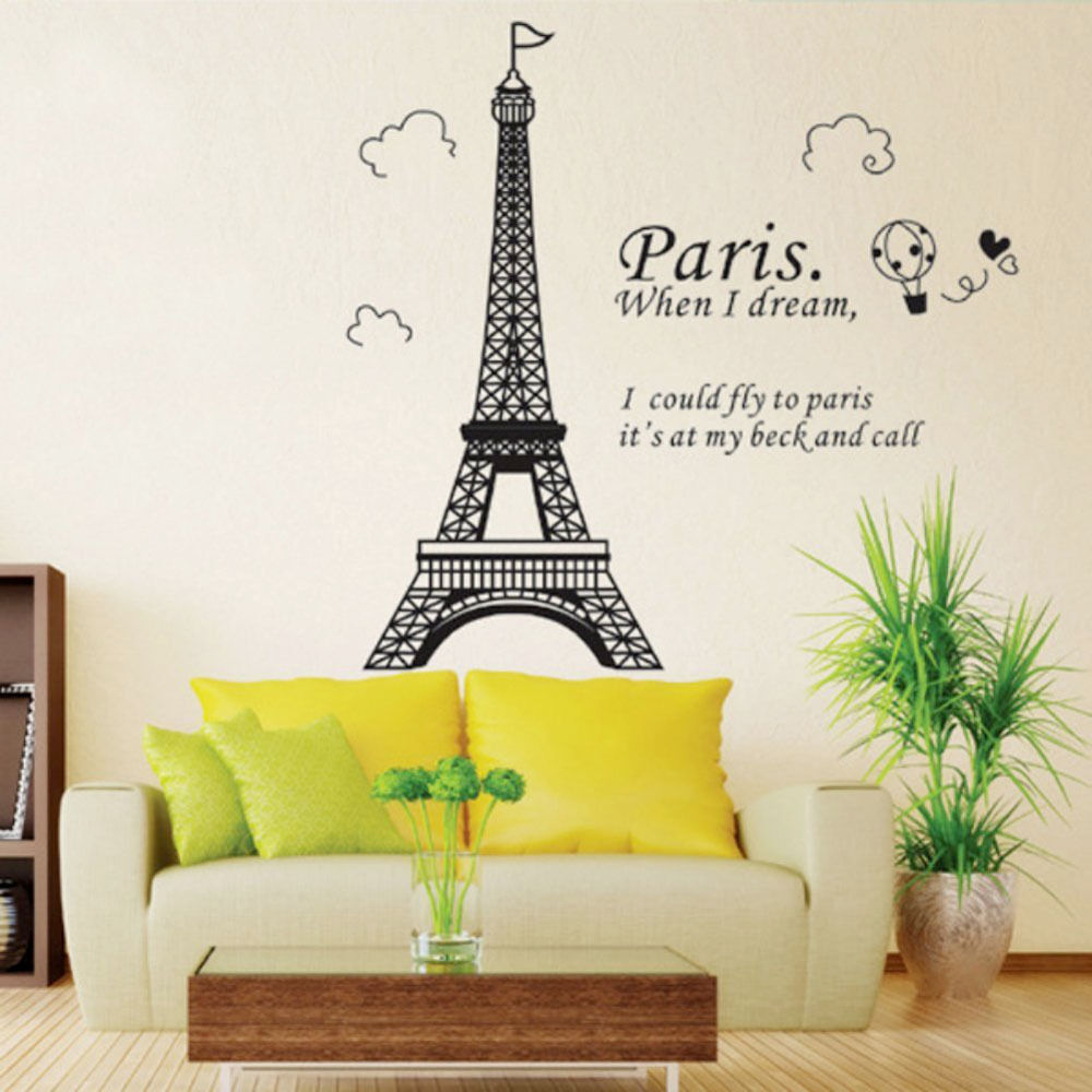 Bedroom home decor removable paris eiffel tower art decal wall sticker mural diy ebay - Bedrooms decoration ...