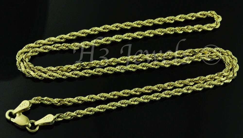 14k solid yellow gold hollow rope chain necklace italian 3