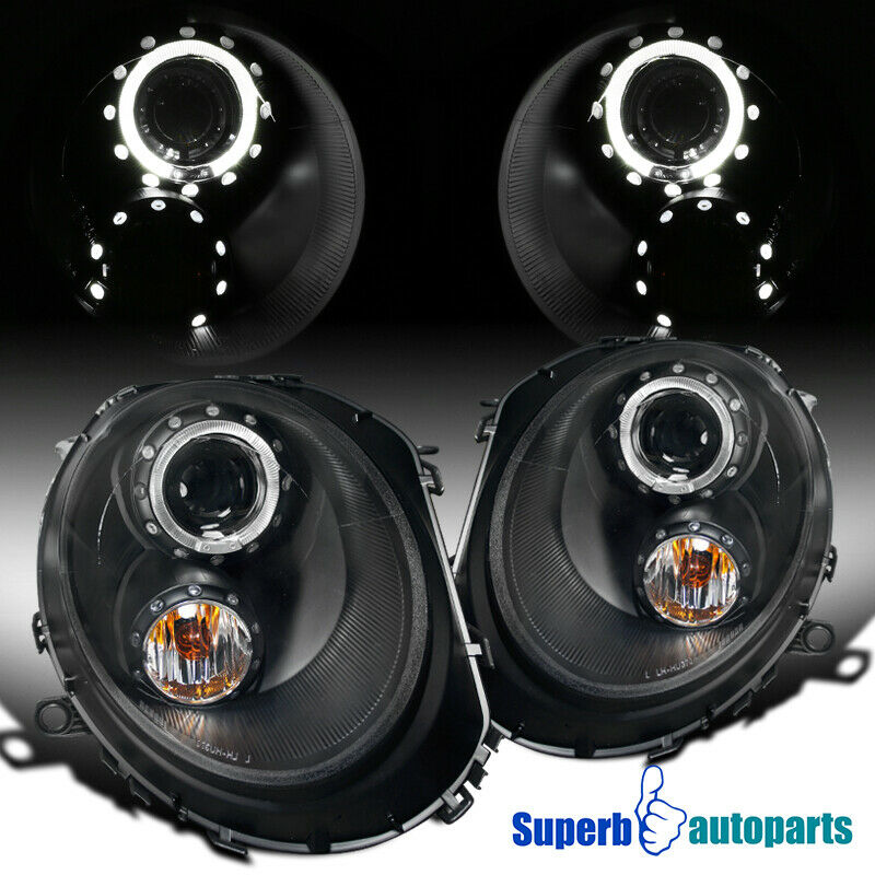 2007 2012 mini cooper s halo projector headlights head. Black Bedroom Furniture Sets. Home Design Ideas