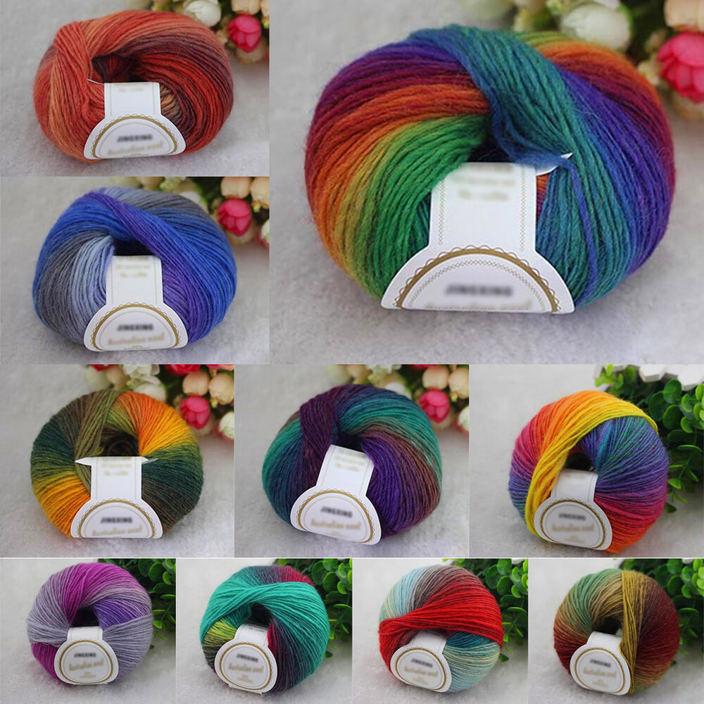 New chunky baby wool 50g ball rainbow colorful knitting for Craft with woolen thread